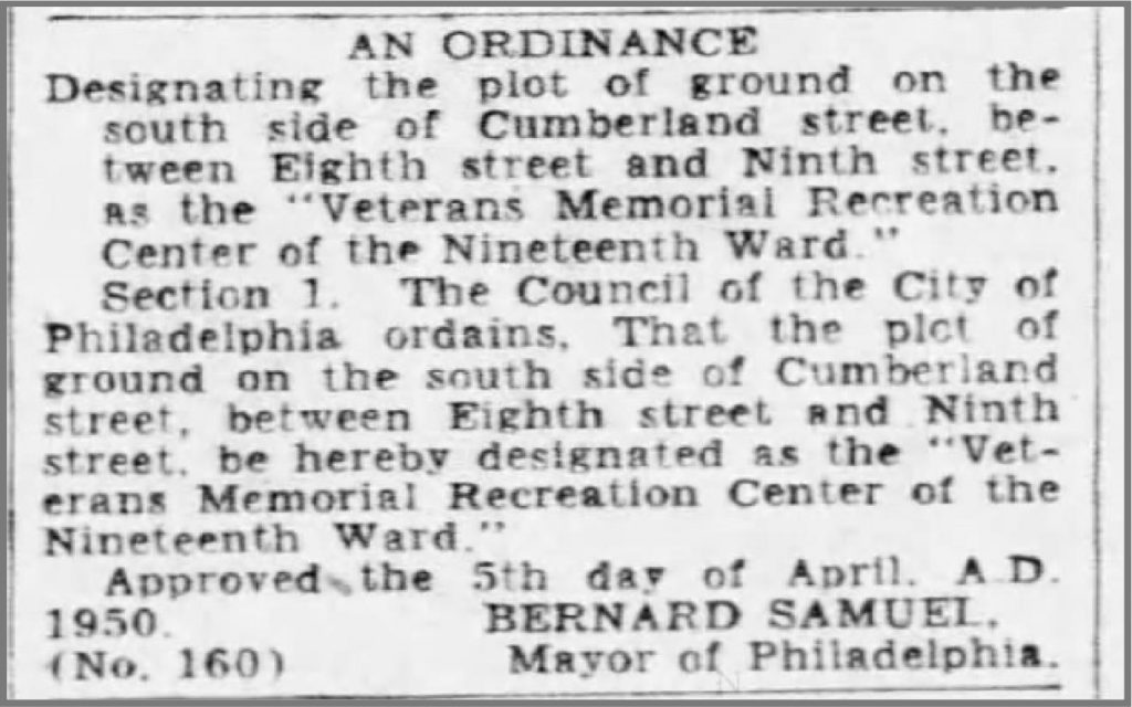 1950: Playground Ordinance Approved